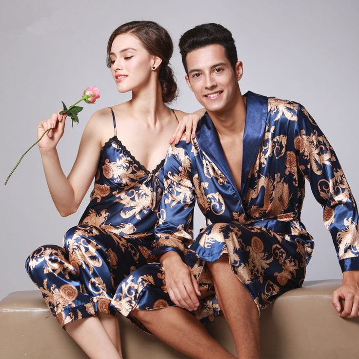 2017 Couple Silk Robes Ladies Silk Lace Robe Long Sleeved Pyjamas Satin Floral Couple Satin Robe & Gown&Pant Sets