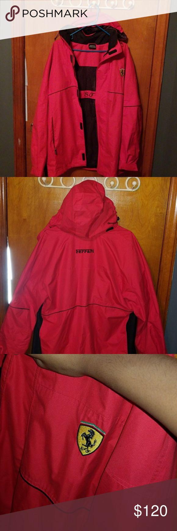 Red Ferrari Jacket w/ hood Size Large Thick windbreaker jacket Worn twice  Some wear on the inside Big discount off of original price. Ferrari Jackets & Coats