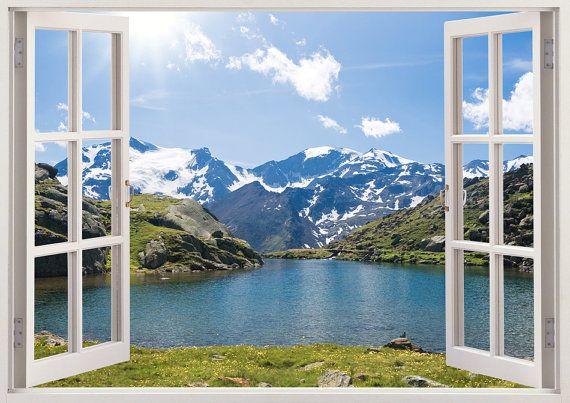 Lake Wall Decal 3d Window Decor Snow Mountain Wall