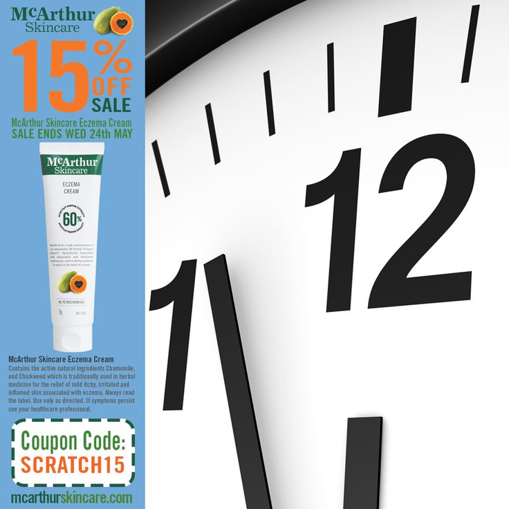 Last Day!! - 15% Sale on Eczema Cream  Don't miss out, stock up on your supply of McArthur Skincare's Eczema Cream during Eczema Awareness Month.   Listed on the Australian Register of Therapeutic Goods. It contains the active natural ingredients Chamomile, and Chickweed which is traditionally used in herbal medicine to assist with the relief of itchy, irritated and inflamed skin associated with mild eczema.  Buy Now: http://mcarthurskincare.com/products/eczema-cream-75g/ Use Coupon Code…