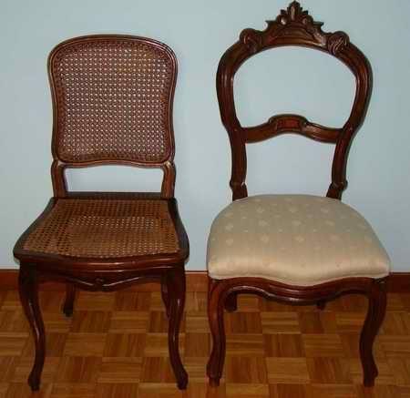 la sedia Luigi Filippo ha le gambe a capriolo davanti, mentre le gambe dietro sono squadrate. La parte superiore della sedia invece ha foglie d'acanto
