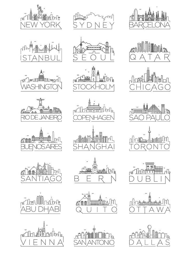 Minimal typographic city skyline designs.