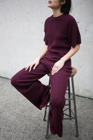 Love the colour!  Creatures of Comfort Ribbed Knit Pant in Plum