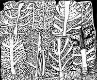 Coloriage adulte Jean Dubuffet : A la forêt