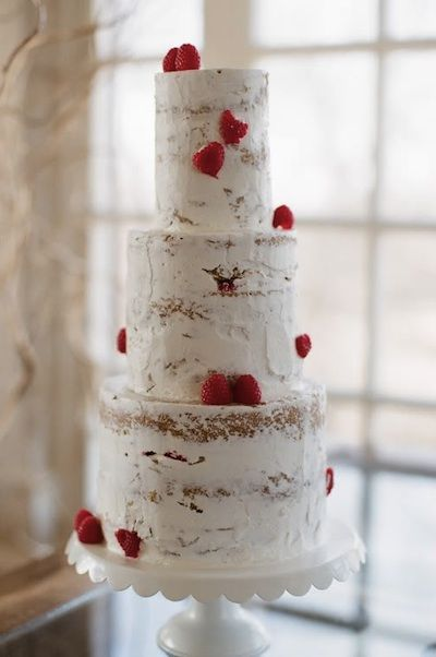"""Raspberry Wedding Ideas. That is a nice one. I have to laugh, all this time we try to cover our cake thoroughly and here, not covering it, looks great. The """"on purpose"""" approach works!"""