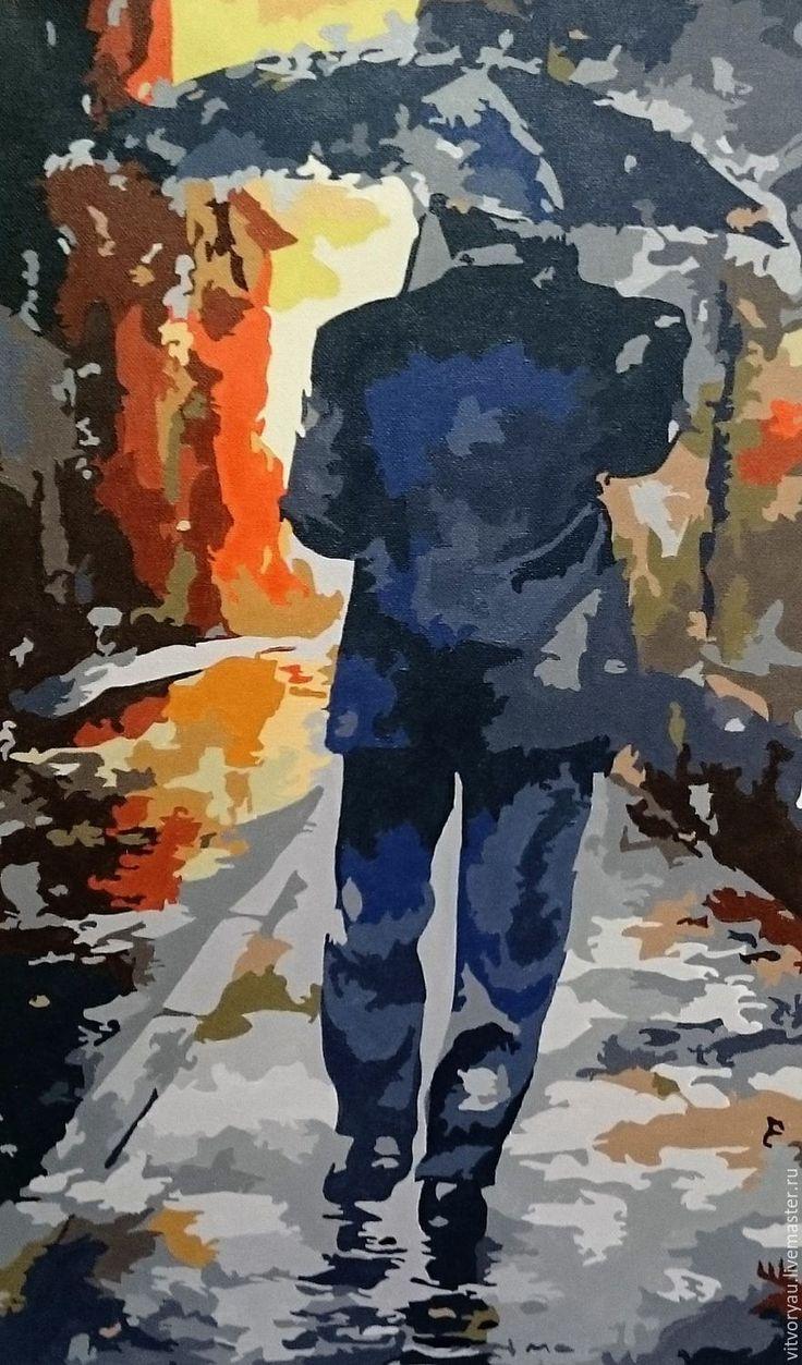 """Карина """"Под дождём"""" - 2 -  холст/ акриловые краски. Размеры 30*50. холст акриловые краски пейзаж город дождь художник живопись на холсте картина для интерьера картинная галерея живопись художники интерьер река подарки handmade ручная работа подарок покупки творчество искусство природа"""