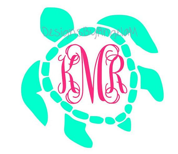 Sea turtle Monogram Initials  SVG Digital cutting file  Instant Download - Use on your cutting machine Vector