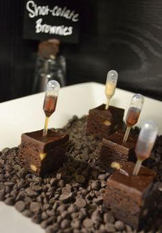 Spiked brownies - this would be great fun at a party. SHOT-colate Brownies