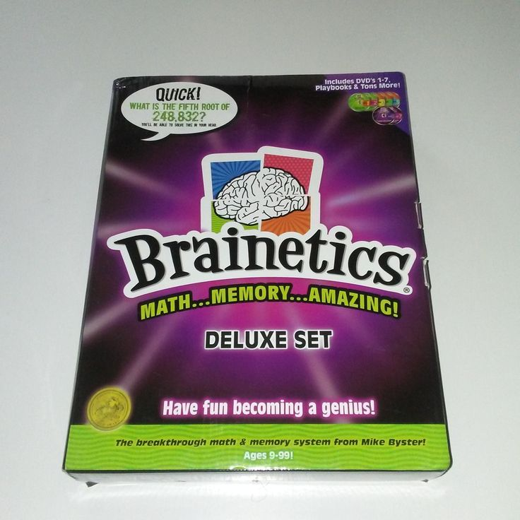 Includes 7 DVD's  Math and Memory Training  Created by Mike Byster      Turbo charge your brain with the Brainetics Deluxe Set! This set helps with adding, subtracting, multiplication, and division of complex problems. This program teaches you how to do this in your head. Also includes: identifying complex patterns in numbers, improving memory, concentration and math skills. There are 7 DVD's included that focus on specific skills.    Contents: 7 DVD Set | Shop this product here…