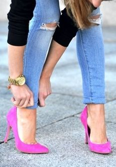 bubblegum pink heels add the perfect girly touch