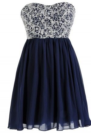 White lace top, navy blue base & high-low bottom