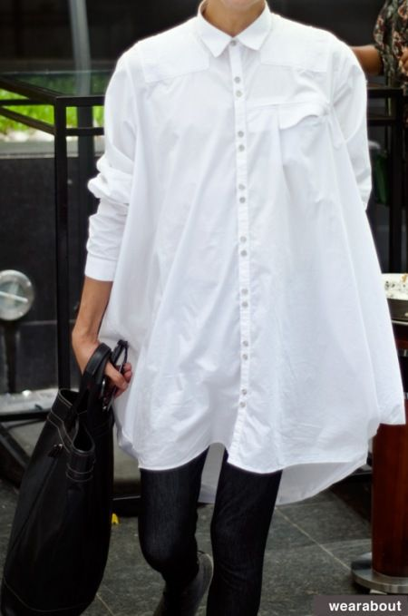 blousey white shirts | street style | http://wearabout.files.wordpress.com/