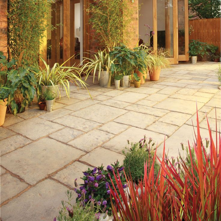 Weathered Limestone Old Town Paving Slab (L)300 (W)450mm Pack of 46 | Departments | DIY at B&Q