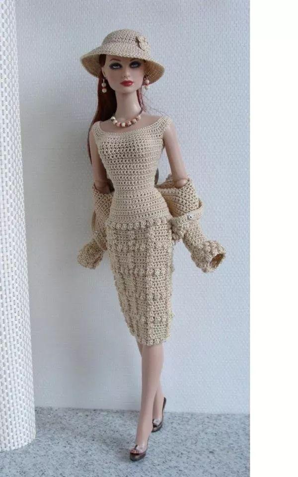 roupa crochê boneca barbie - model elegancy