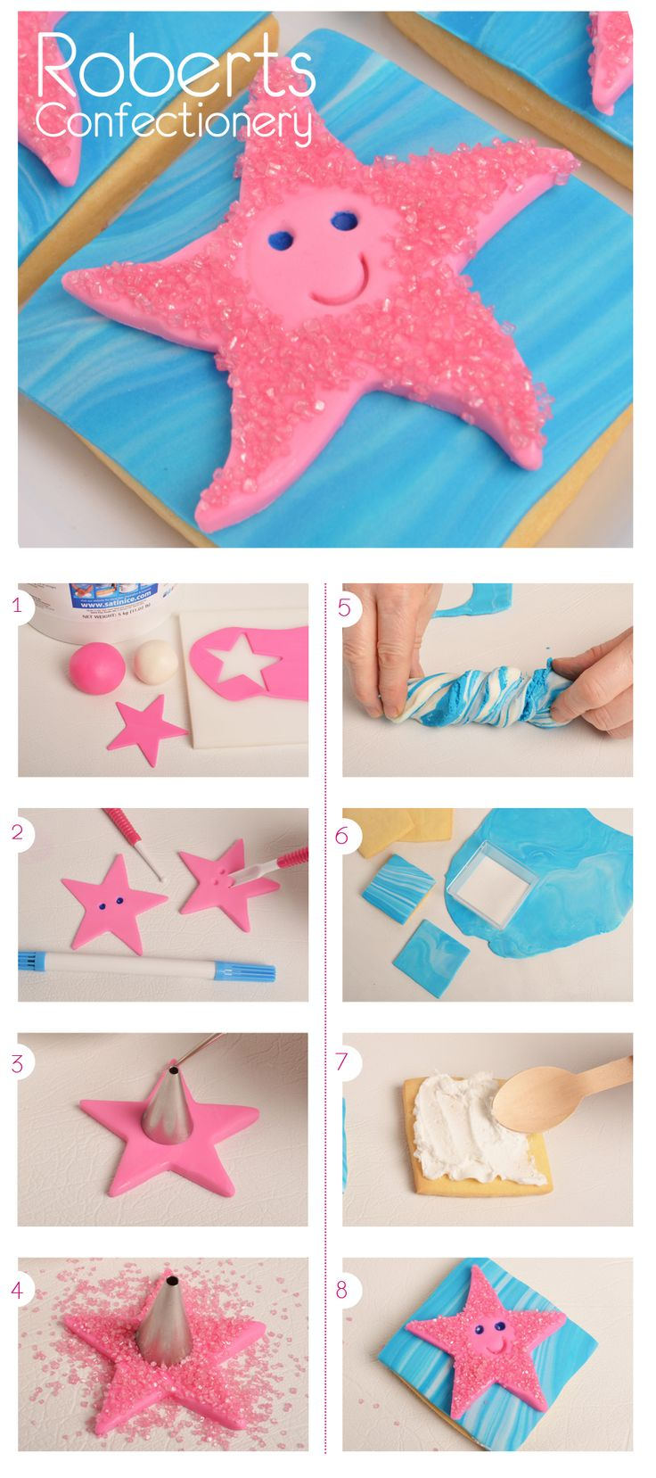Inspired by Finding Nemo, these cute Starfish Cookies are easy to make & taste delicious! We've used Satin Ice Fondant & Roberts Confectionery Pink Sanding Sugar.