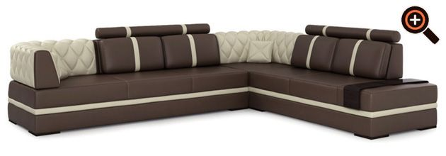 Modernes Sofa – Designer Couch fürs Wohnzimmer aus Leder – schwarz, weiß, braun