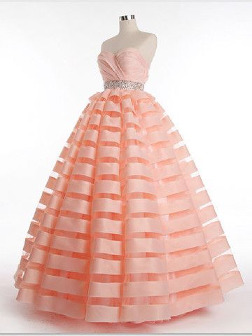 Strapless Organza Stripes Ball Gown Prom Evening Dress JoJo's Dress