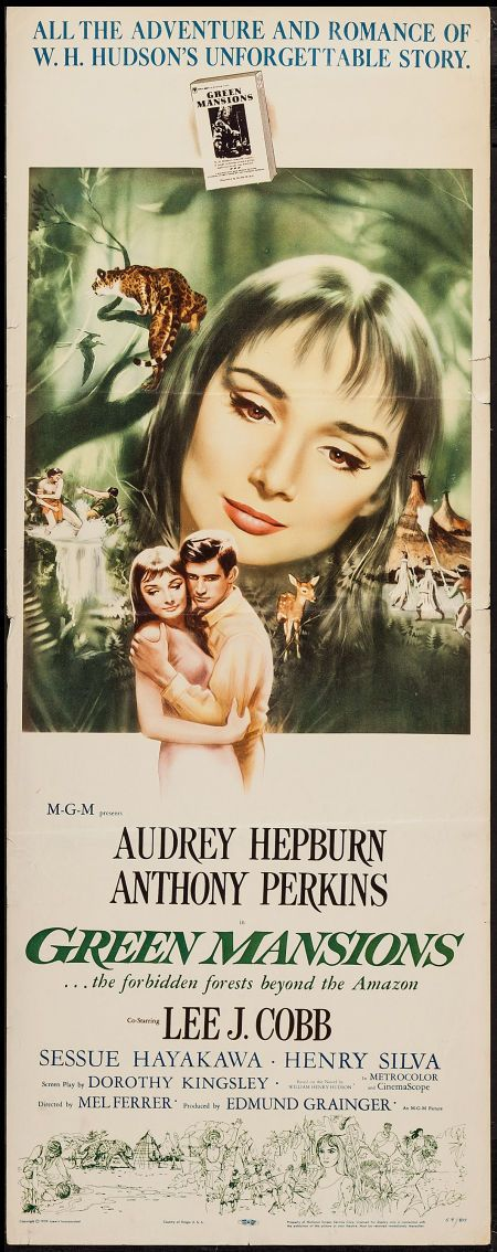"Green Mansions (MGM, 1959). Insert (14"" X 36""). Drama. Starring Audrey Hepburn, Anthony Perkins, Lee J. Cobb, Sessue Hayakawa, Henry Silva, Nehemiah Persoff, Michael Pate, and Estelle Hemsley. Directed by Mel Ferrer."