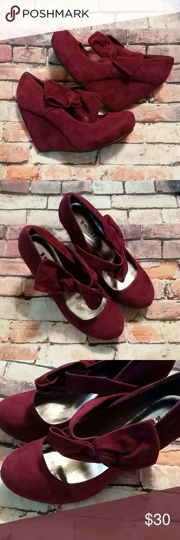 BAMBOO Red Velvet Wedge Heels Brand new, with original box.  To die for bows!  Beautiful wine or cranberry shade of velvet.  Love them, but hate the price? Make me an offer! Bamboo  Shoes Wedges