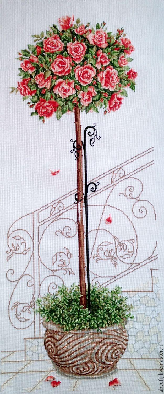 Купить Вышивка картины Топиарий из роз Дерево счастья - розовый, Вышивка крестом, вышивка