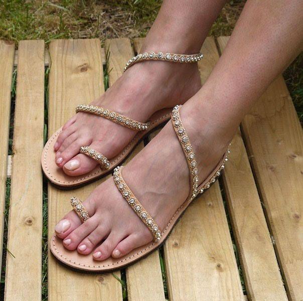 "Bridal sandals, Handmade Greek Leather sandals, Luxurious sandals, Wedding sandals, Strappy Sandals, ""Thecla"""