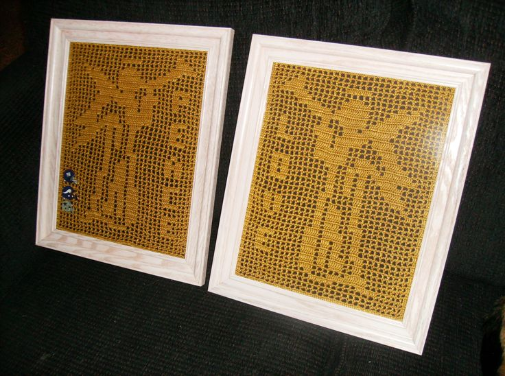 "This Pair of ""Trumpeter Angels"" Made for a friend. This type of Crochet is called ""Filet Crochet"""