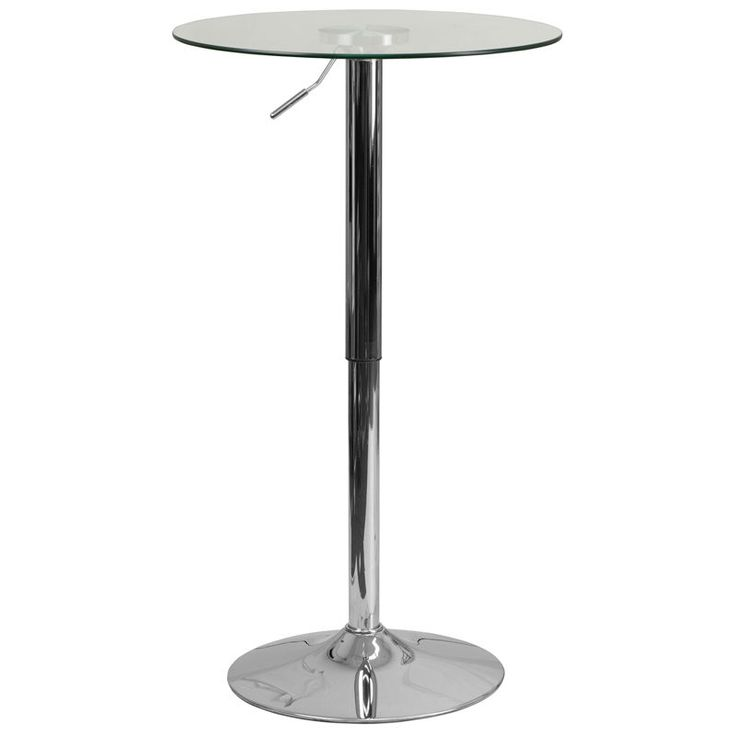 Glass highboy table with adjustable height