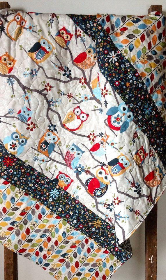 Baby Quilt Gender Neutral Owls Modern Scandinavian door CoolSpool, $105.00