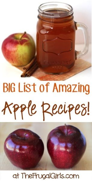 BIG List of Amazing Apple Recipes! ~ at TheFrugalGirls.com ~ Spiced Cider, Homemade Applesauce, Apple Bread, Apple Pies + so many more delicious Fall Recipes! #apples #thefrugalgirls