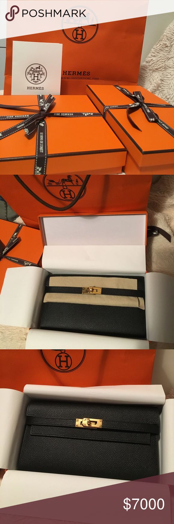 NFS 💯Authentic Hermes Kelly Wallet and Belt ❤️Love love love! Never go wrong with this Signature Kelly with Black and gold!🌟 Hermes Bags Wallets