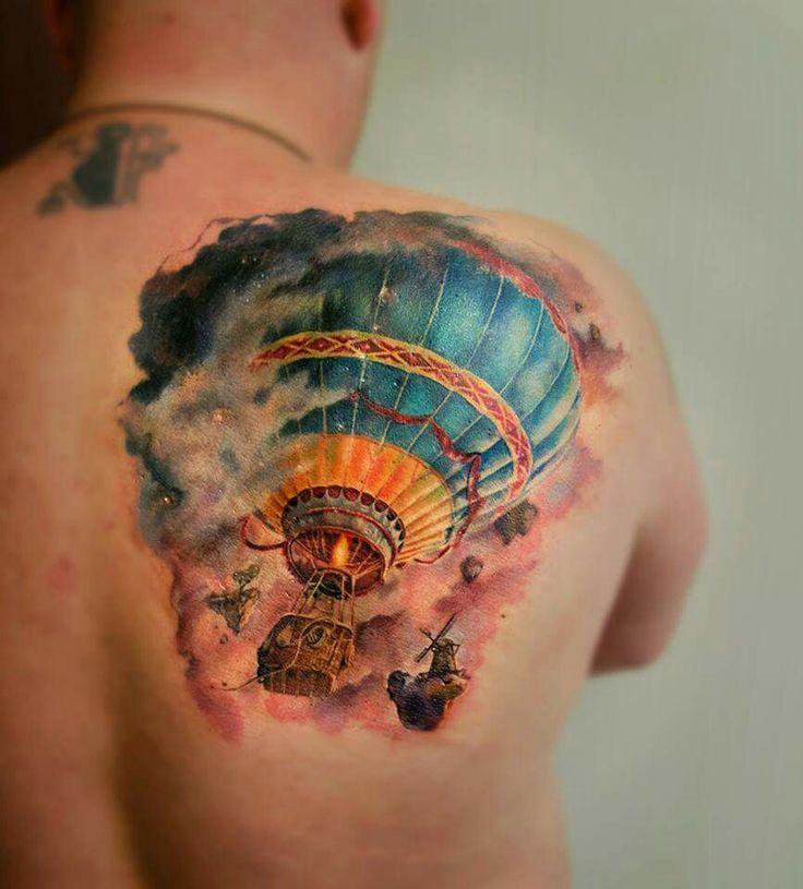 Hot air balloon tattoo realism