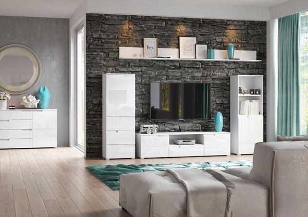 białe meble do salonu komody szafy i witryny kolekcja Selene