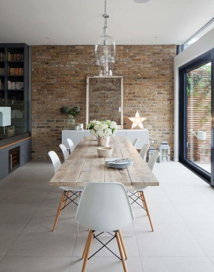 Brick wall in dining area
