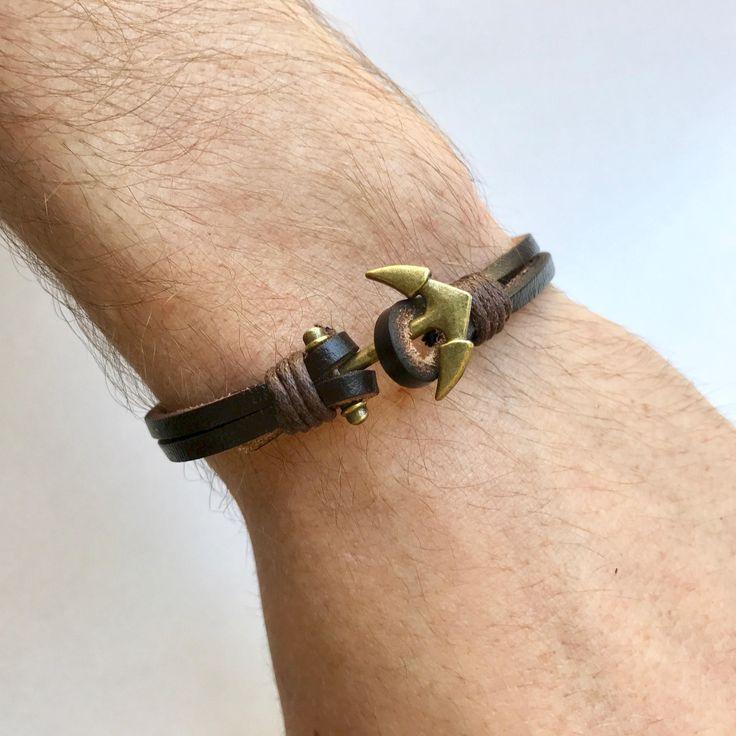 Mens Anchor Bracelet, Men Anchor Bracelet, Anchor Bracelet Men, Anchor Mens Bracelet, Brown Anchor Bracelet, Brown Leather Bracelet, Anchor by ToHimFromHer on Etsy