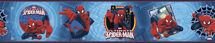 "Walt Disney Kids II Ultimate Spider-Man Badge 9"" Border Wallpaper"