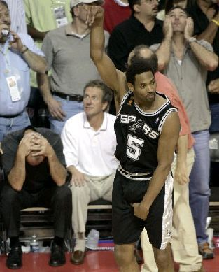 Big Shot Bobby holding it down after hitting the game winner - 2005 NBA Finals - Game 5