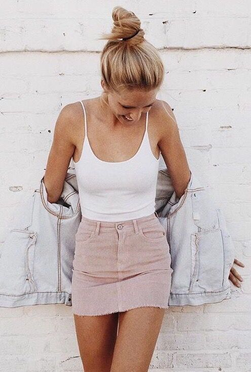 Nude denim skirt, white tee and denim jacket - LadyStyle