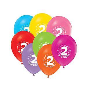 Karışık Renkli 2 Yaş Desenli Balon, parti süsleri