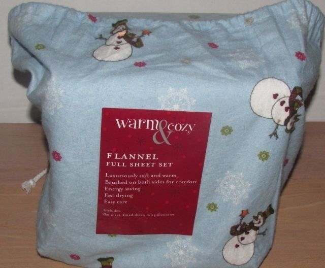 snowman flannel full size sheet set blue snowmen snowflakes christmas new kmart holiday the