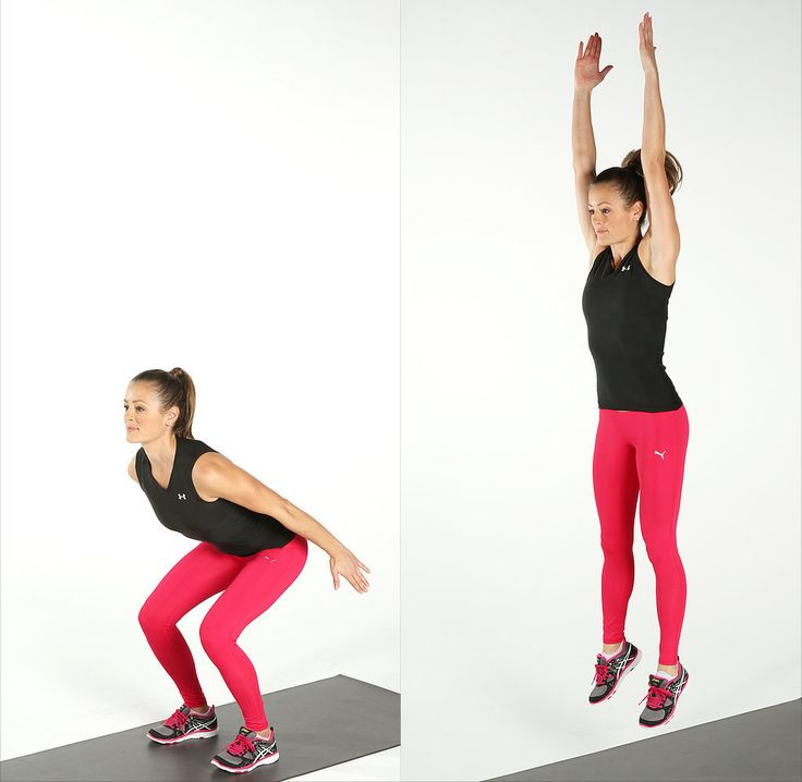 Nothing tones the legs and butt like a jumping squat.  Start by coming into a squat with your arms by your sides. Swing your arms to the ceiling as you jump off with both feet. Land quietly as you return to the squat position. This completes one rep. Do 15 reps.