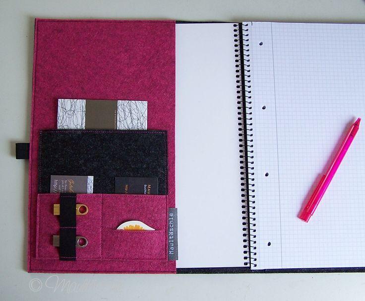 A4 Schreibmappe Wollfilz-Organizer mit Collegeblock www.maultaeschle-filz.de