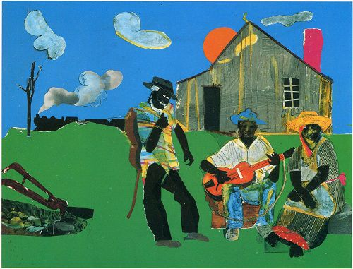 "Romare Bearden's collage: ""Mr. Jeremiah's Sunset Guitar"""