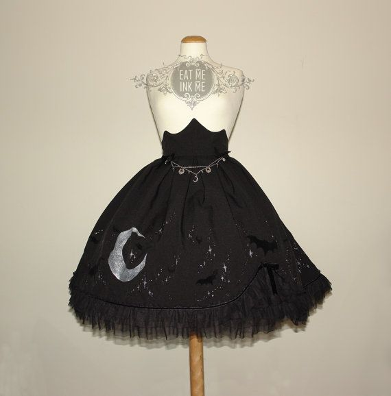 Preorder Midnight Rhapsody semi highwaist skirt bats stars moon witch halloween vampire gothic lolita skirt custom pastel goth silver gold