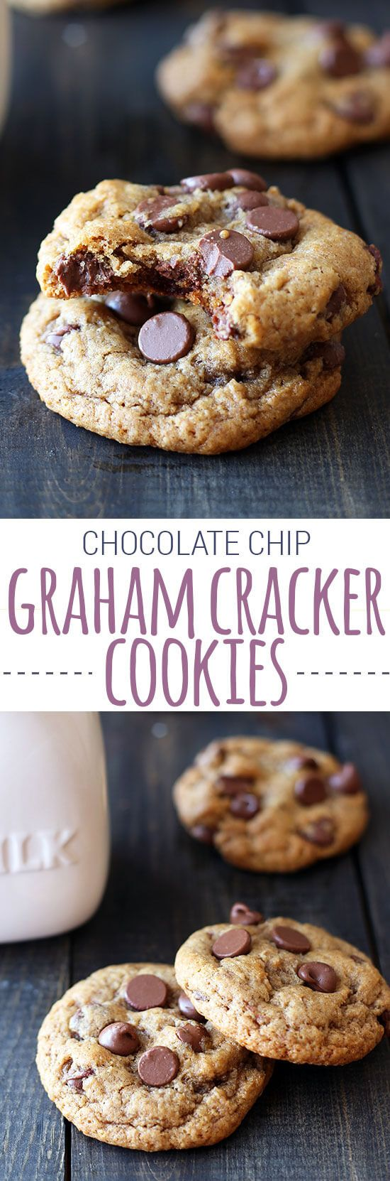 Chocolate Chip Graham Cracker Cookies are uniquely tasty! Chewy homemade graham cracker cookies loaded with milk chocolate chips. Perfect base for s'mores!