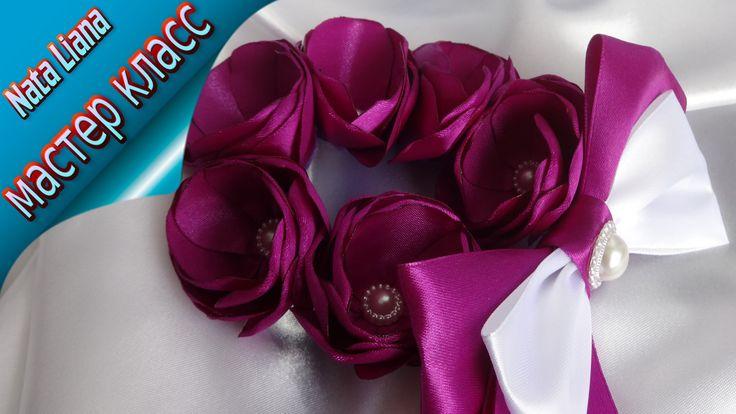 Резинка на пучок  с цветами из ленты. Украшение для волос. МК от Nata Li...