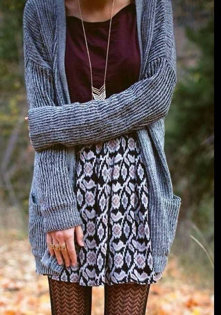 Cozy but Cool - grey cardi, printed skirt, wine colored top