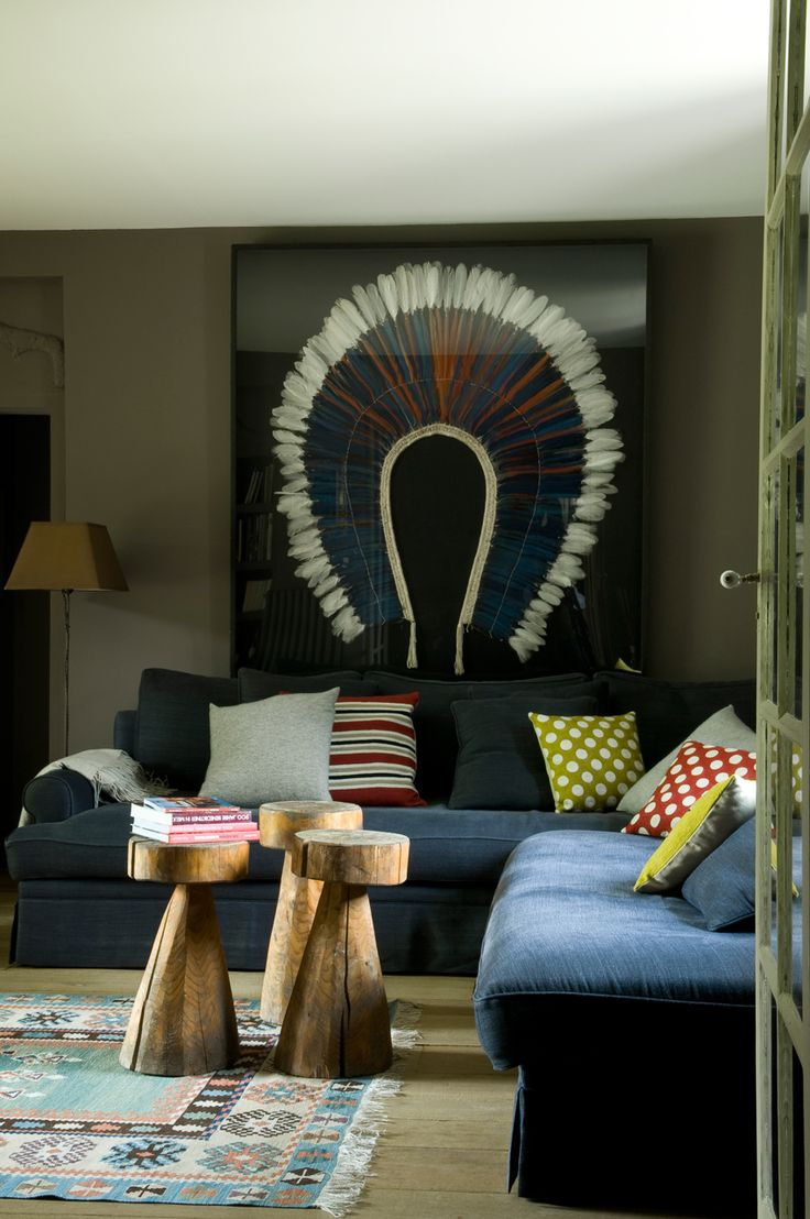 Ethnic touches in a sitting room designed by lodie Sire  Eclectic DesignInterior  ...