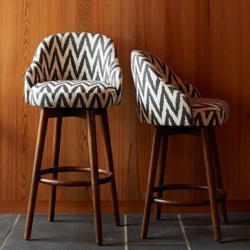 Saddle Bar + Counter Stools from West Elm, on sale for $599 for 2