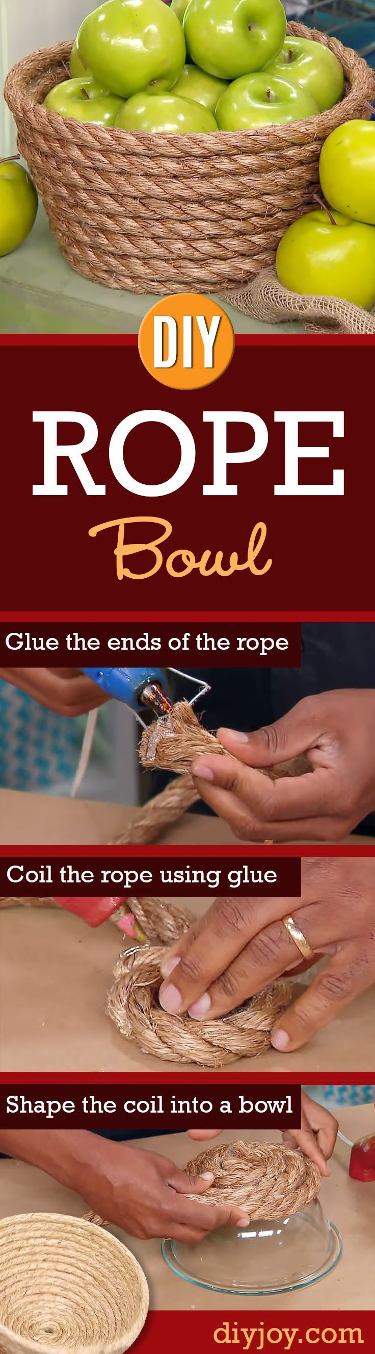 Easy Home Decor Projects and Cheap DIY Crafts Ideas that Make Cool Homemade Gifts - DIY Rope Bowl - How To and Step By Step Instructions