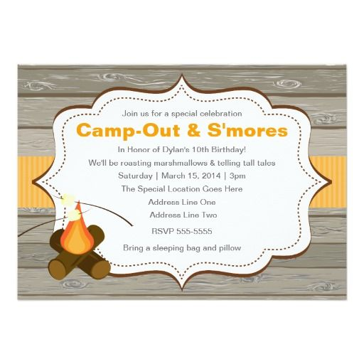 251 best camp out invitations images on pinterest birthday camp out smores invitation stopboris Image collections